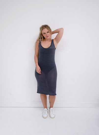 Cotton Knit Dress - Charcoal (Ready to Dispatch)