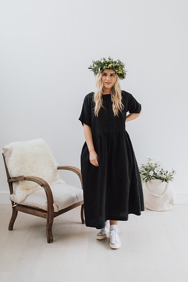 The Gathered Dress - Black (Ready to Dispatch)