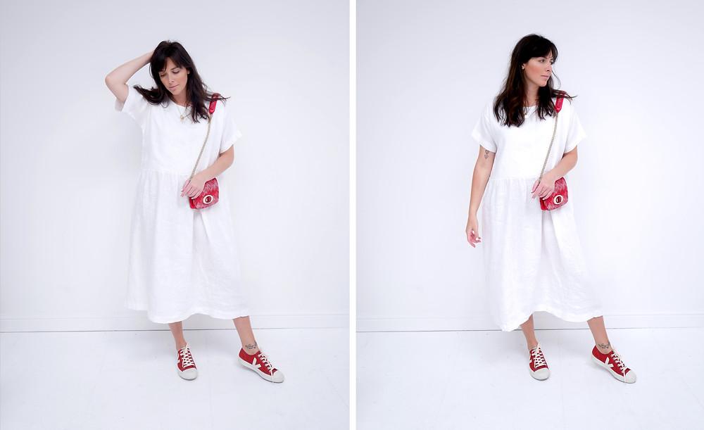 Stalf Gathered Dress in White