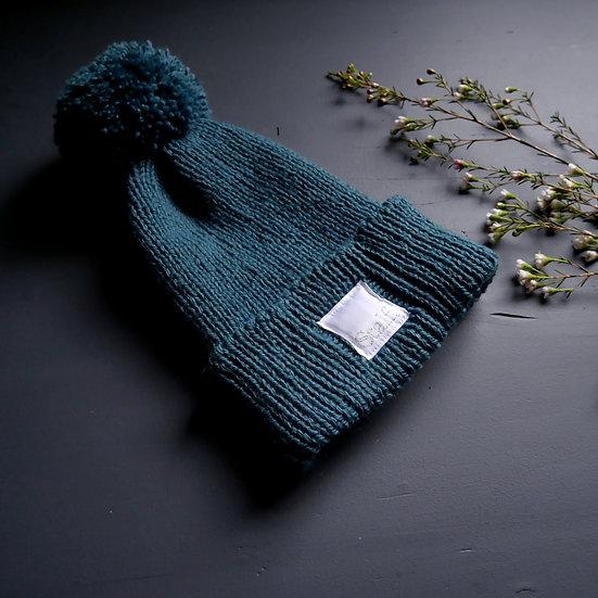 Wool Bobble Hat - Kingfisher