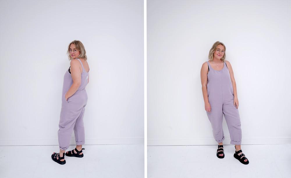 Stalf Cocoon Jumpsuit in Parma Violet.