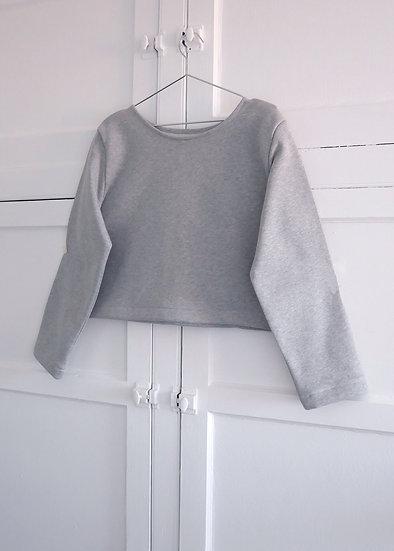The Cropped Sweatshirt - Grey Marl