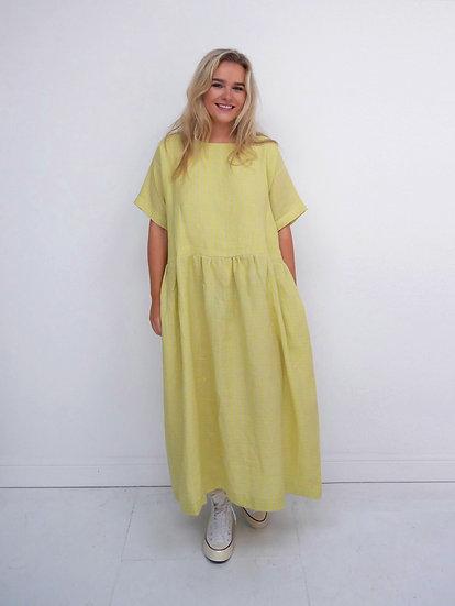 The Gathered Dress - Fluoro Citrus Check