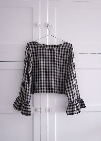 The Flutter Blouse - Black & Natural Check (Ready to Dispatch)