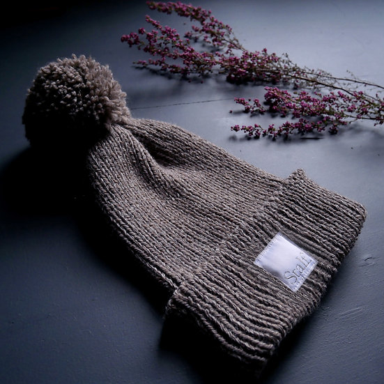 Wool Bobble Hat - Walnut