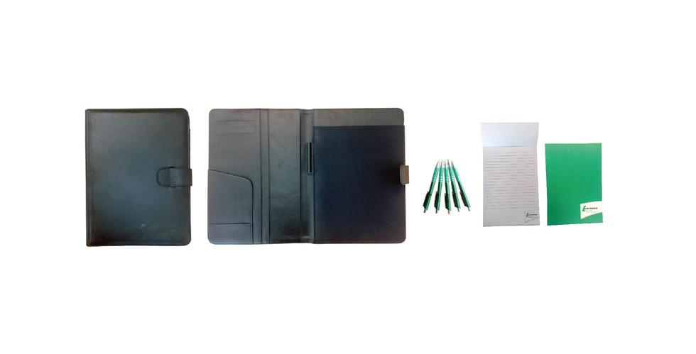 Porte-documents en simili-cuir, bloc-not