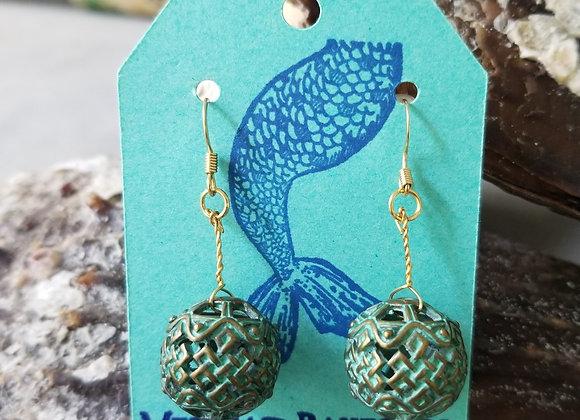 Patina Green Weave Earrings