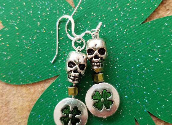 Metal Skull and Enameled Clover Earrings