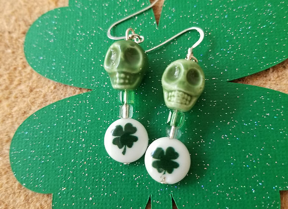 Green Glass Skull & Shamrock Bead Earrings