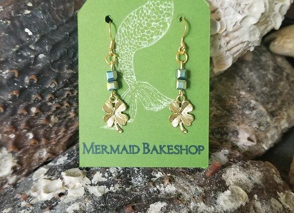 Gold Shamrock Earrings