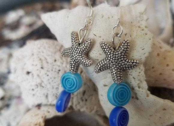 Starfish & Blue Bead Earrings