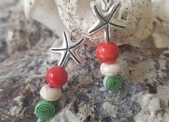 Starfish Holiday Earrings
