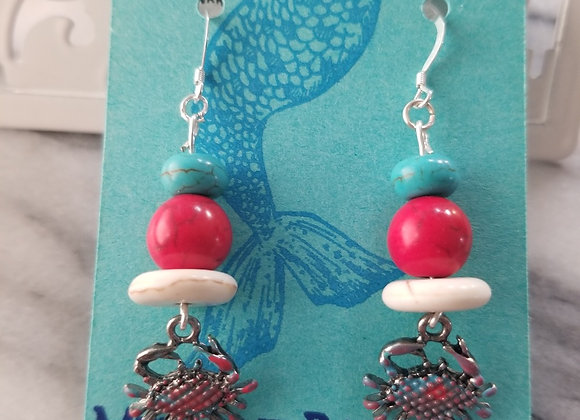 Red, White & Crab Earrings