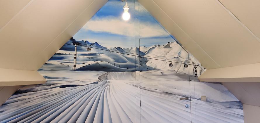 Muurschildering sneeuw winter