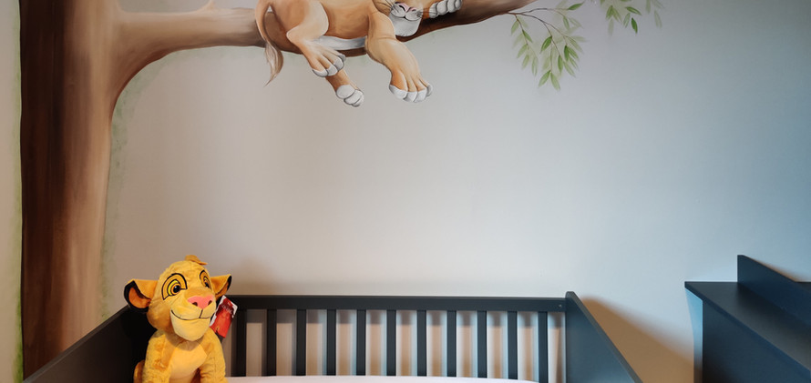 muurschildering leeuwenkoning