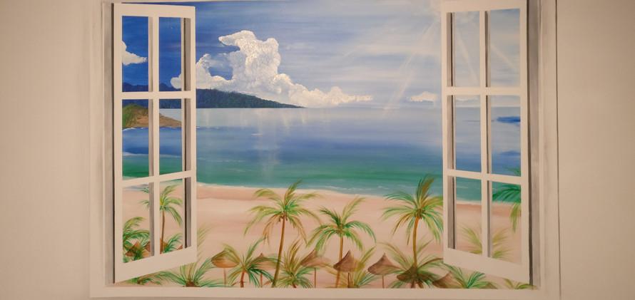 muurschildering open raam