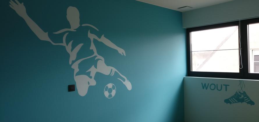 muurschildering Voetbal