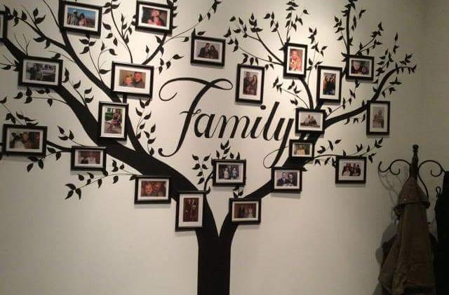 muurschildering, familie boom