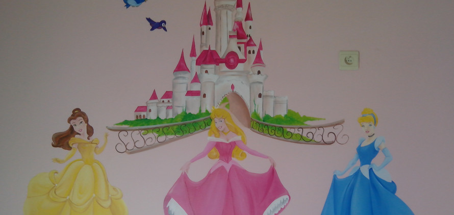 muurschildering Princessen