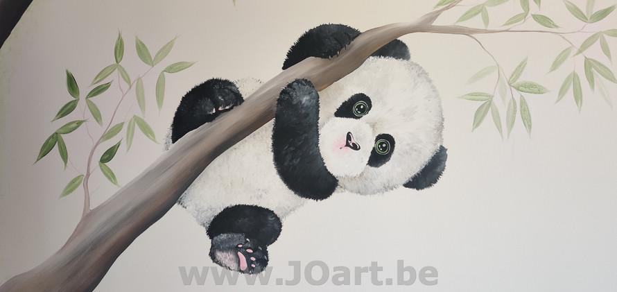 Muurschildering panda baby boom