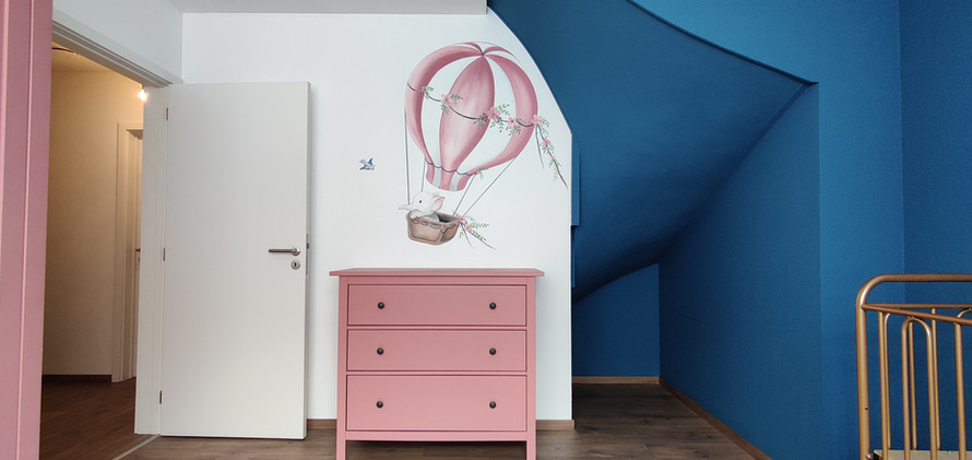 Muurschildering retro luchtballon