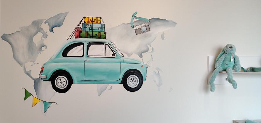 Muurschildering fiat 500