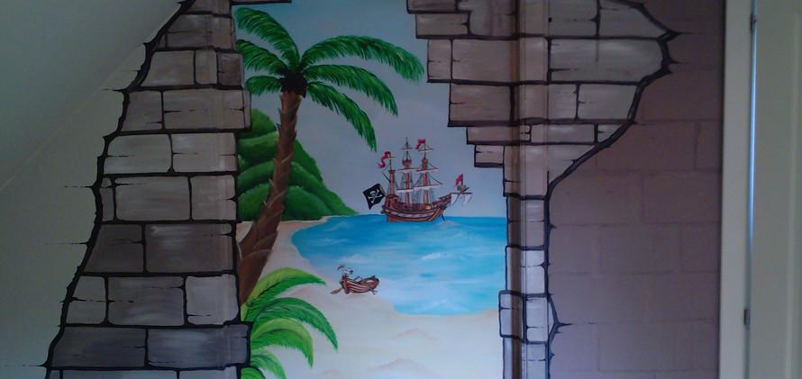 Muurschildering Piraat