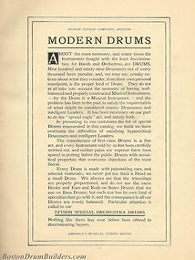 "Ditson Wonderbook No. 4, 1910 - ""Modern Drums"""