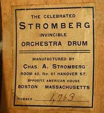 Stromberg Invincible Orchestra Drum Label ca. 1910s