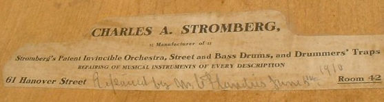 Charles A. Stromberg Drum Label ca. 1910