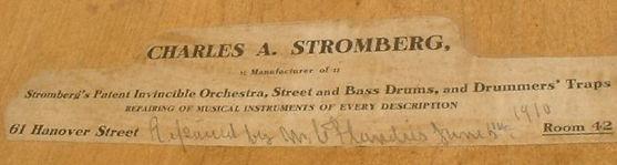 Charles A. Stromberg Drum Label ca. 1910