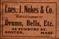 Enes J. Nokes & Co. Drum Badge, ca. 1911