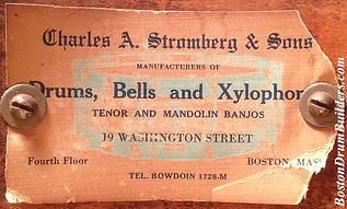 Charles A. Stromberg & Sons Drum Label, ca. early 1920s