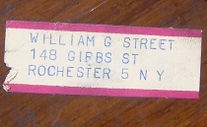 William G. Street, 148 Gibbs Street, Rochester 5 NY