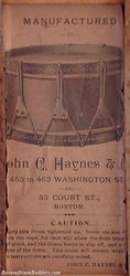 1890s John C. Haynes & Co. Snare Drum Label