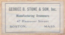 ca. mid 1930s George B. Stone & Son Drum Label