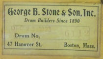 1920s George B. Stone & Son Drum Label