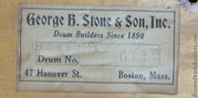 1923 George B Stone & Son Drum Label
