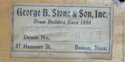 1923 George B Stone & Son Drum Label