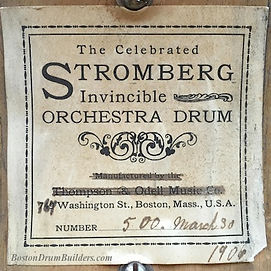 1906 Stromberg Snare Drum Label