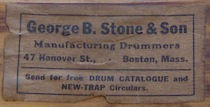 George B. Stone & Son Drum Label ca. 1920 - 1921