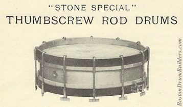 Thumbscrew Rod Orchestra Drum from George B. Stone & Son Catalog G - ca. 1912