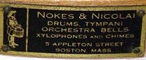 Nokes & Nicolai Drum Badge - 5 Appleton Street, ca. 1920 - 1926