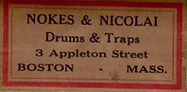 Nokes & Nicolai Drum Label - 3 Appleton Street, ca. 1912 - 1920