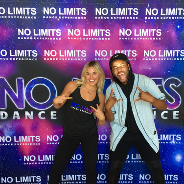 Victoria Baldesarra and Bizzy Boom having fun at the Photo Wall