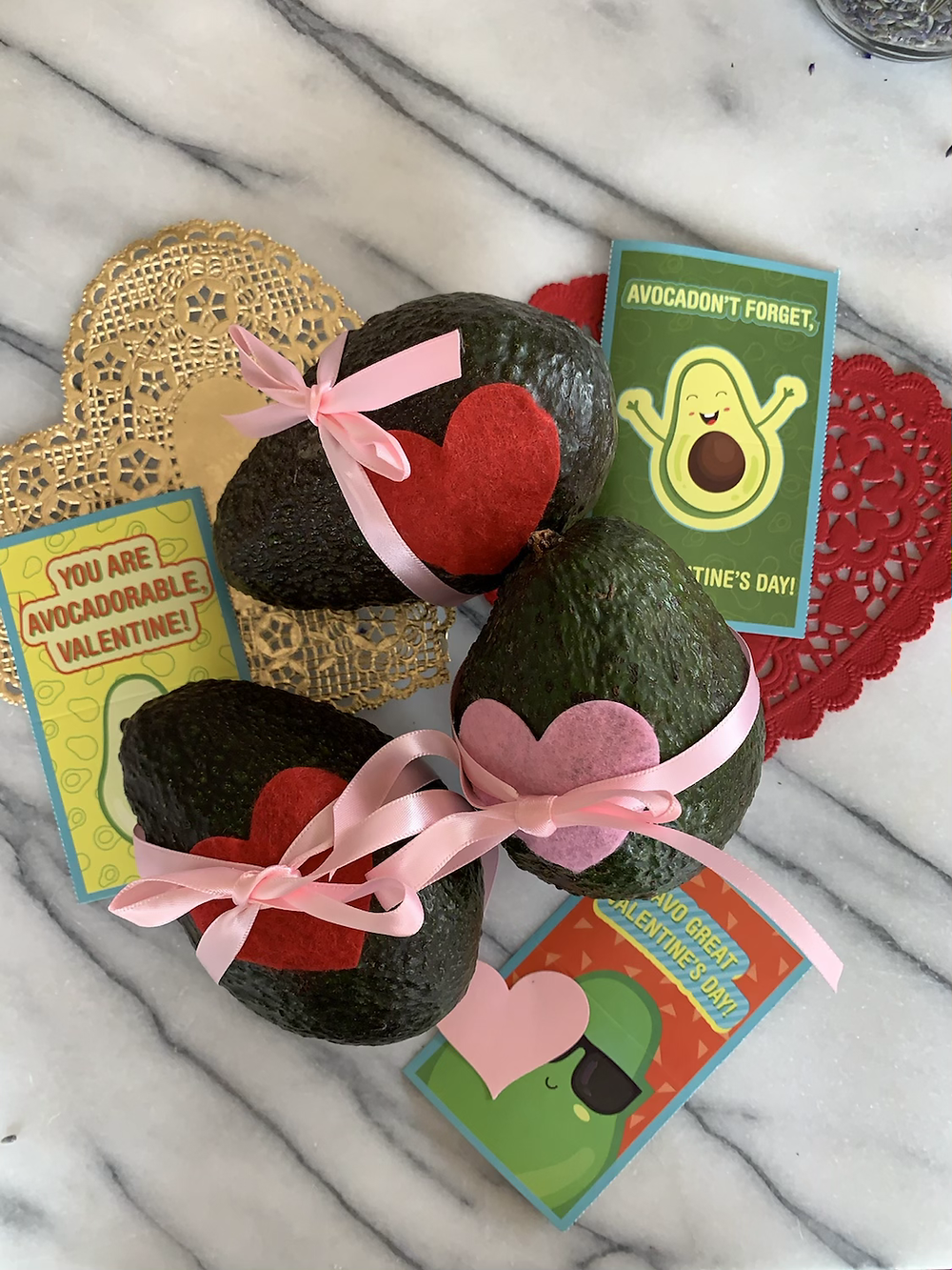Avocados decorated for valentine's day
