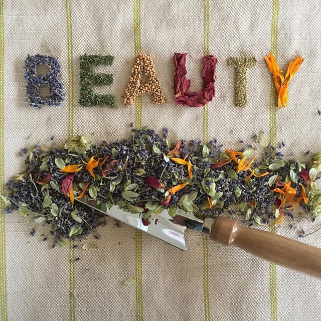 Dried summer herbs and flowers for foot care