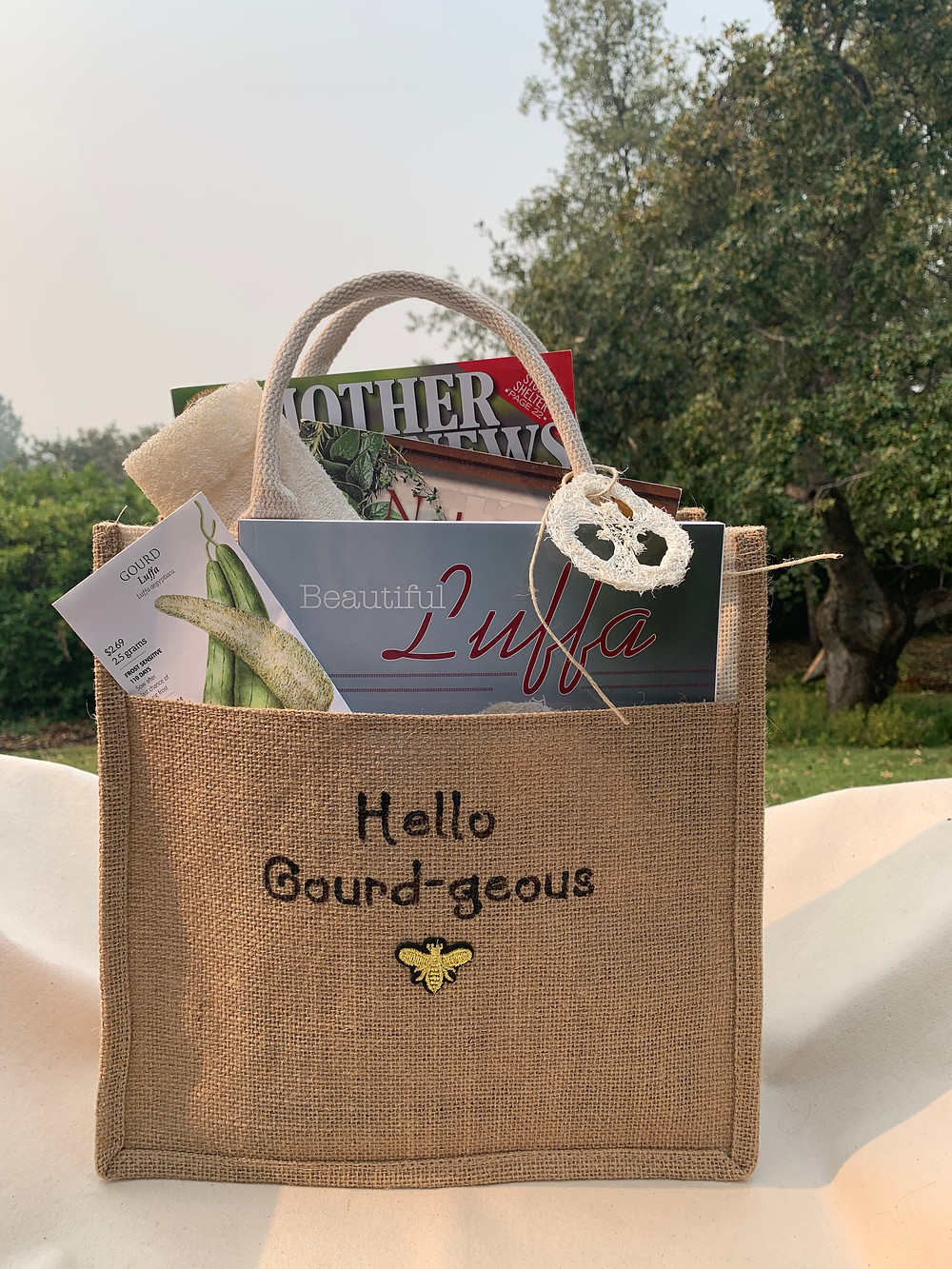 Beautiful Luffa gift bag available at JaniceCox.com