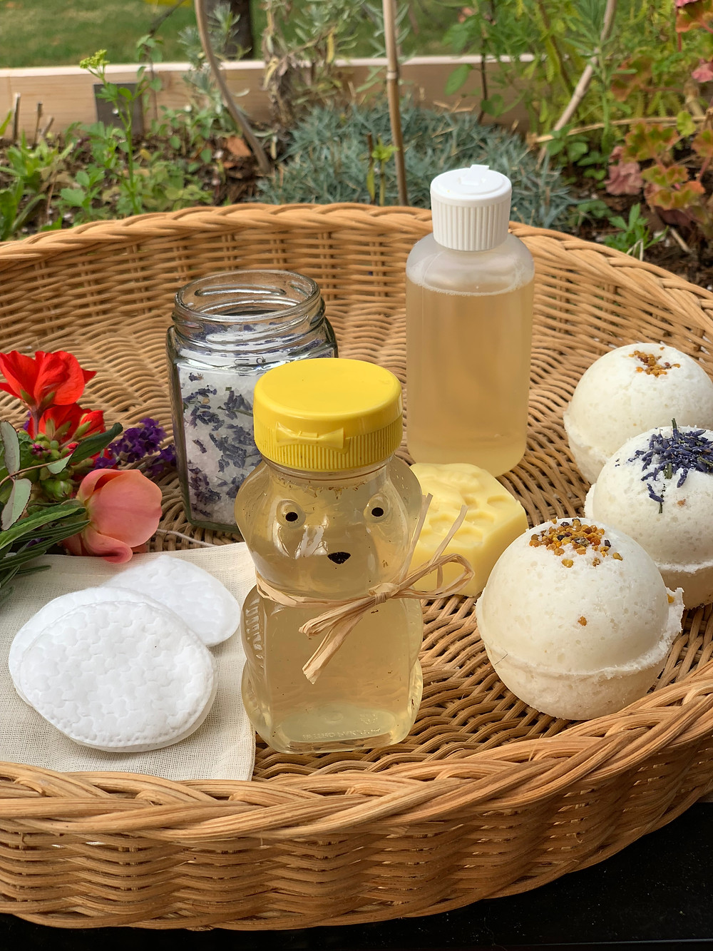 A basket of homemade body care products