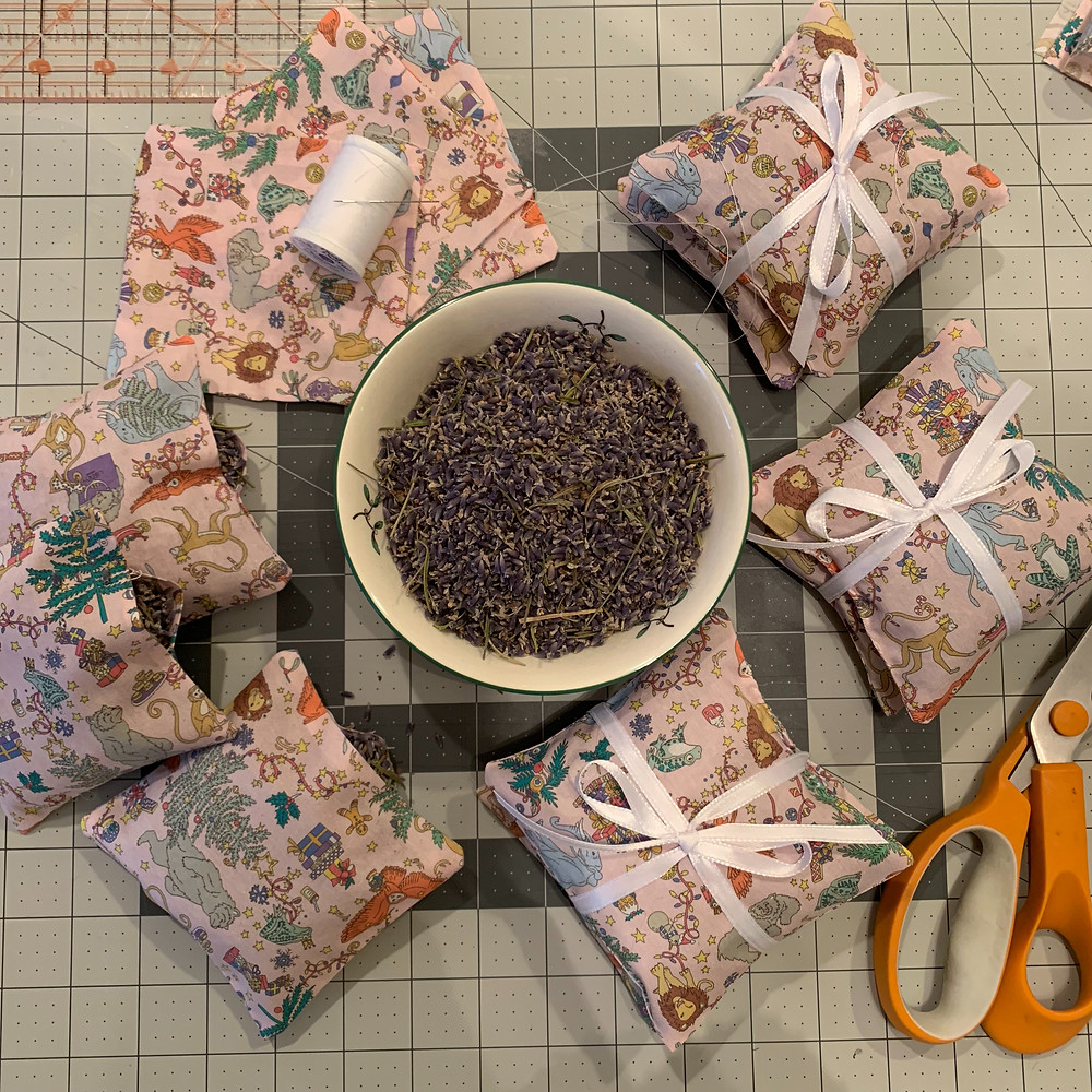 Materials needed for creating lavender sachets